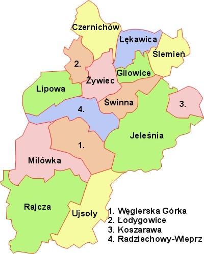 powiat żywiecki podział administracyjny