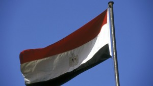 Egyptian national flag blowing in the wind Cairo Egypt
